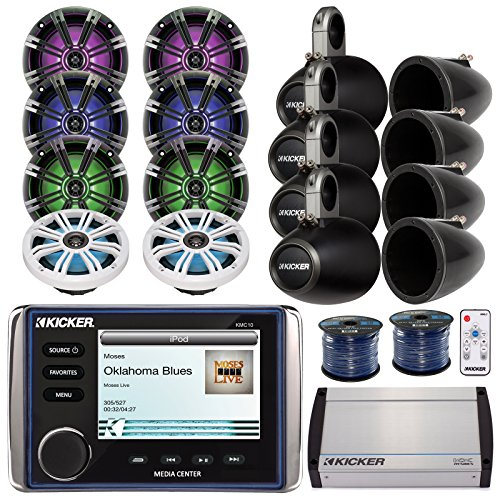"""Kicker KMC10 Marine All In One Bluetooth Stereo Receiver Bundle Combo W/ 8x 6.5"""" 195-Watt LED Coaxial Speaker With Remote Controller + 8x Empty Tower Enclosures + Amplifier + Enrock 100Ft Speaker Wire"""