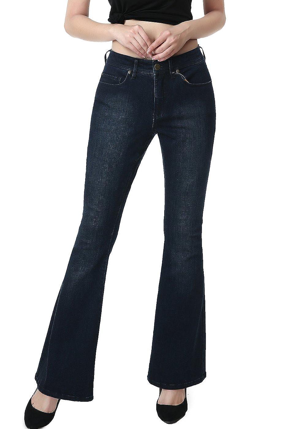 phistic Womens Ultra Stretch Dark Indigo Flare Jeans
