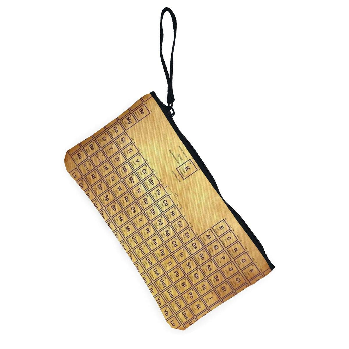 Canvas Cash Coin Purse,Periodic Table Of Elements Print Make Up Bag Zipper Small Purse Wallets