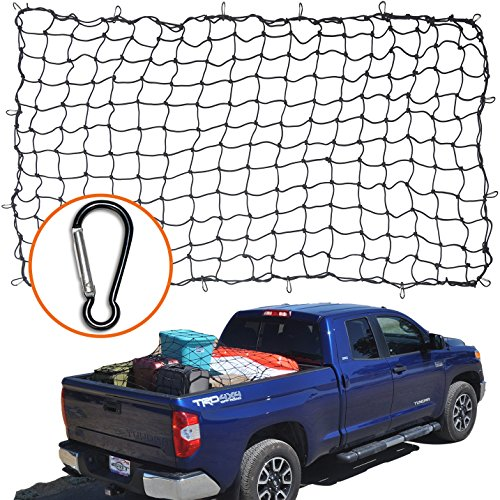 "4'x6′ Super Duty Bungee Cargo Net for Truck Bed Stretches to 8'x12′ | 16 Tangle-free D Clip Carabiners | Small 4""x4"" Mesh Holds Small and Large Loads Tighter"