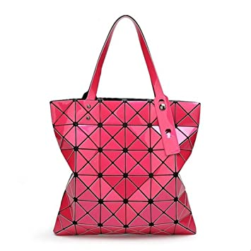 Handbags Bao Bao Laser Geometric Diamond Shape Silica Gel Sliver Paint  Patchwork Tote Women Shoulder Bag Baobao Rose Red one Size  Amazon.co.uk   Luggage 26c4619a86c9b