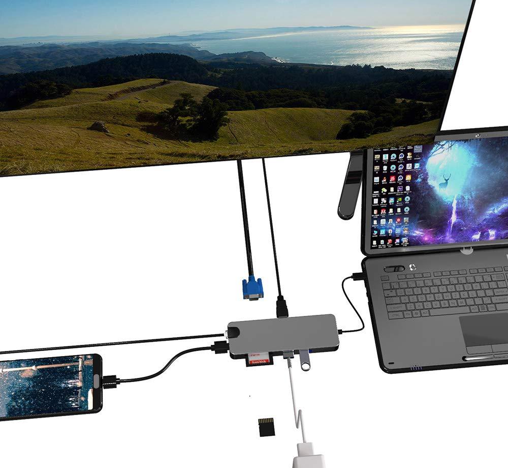 Amazon.com: Bingkers - Adaptador USB C Hub 8 en 1 con ...