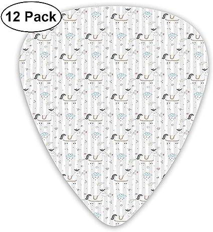 Paquete de 12 púas de guitarra de celuloide, diseño de caballo de ...