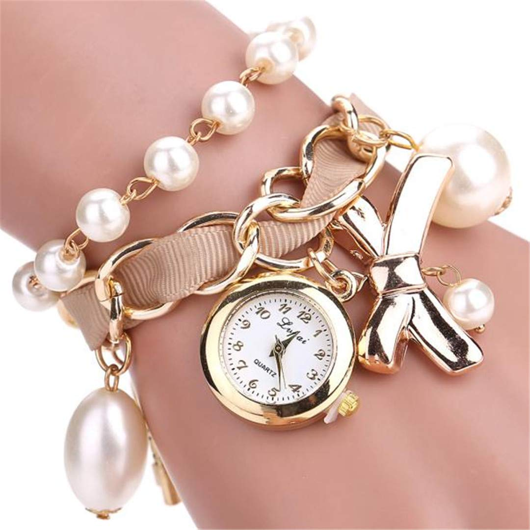 Amazon.com: Fashion Watches Women Pearl Bow Round Bracelet Quartz Watches Wristwatch Casual Watch Ladies Classic Watch Horloge Blue: Beauty