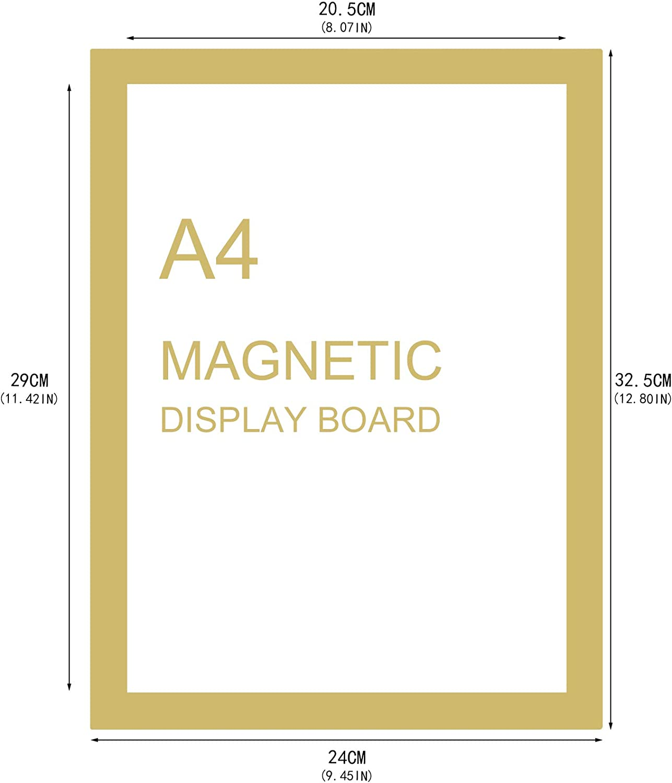 Xinzistar 6 St/ück Duraframe A4 Selbstklebend Bilderrahmen mit Magnetverschluss Duraframe Magnetrahmen Inforahmen Magnetisch Blatthalter Gold