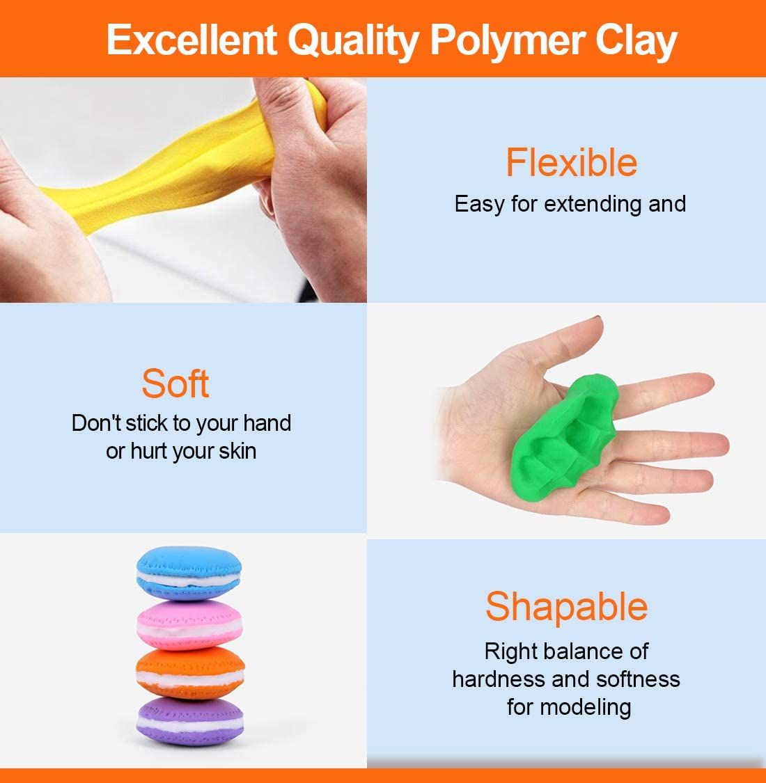 Safe and Nontoxic DIY Baking Clay Blocks Gifts for Kids /& DIY Lovers /& Starter Genround 50 Colors Oven Bake Clay with 19 Polymer Clay Tools /& 25 Jewelry Making Accessories Polymer Clay Starter Kit