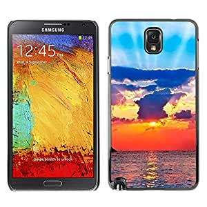 X-ray Impreso colorido protector duro espalda Funda piel de Shell para SAMSUNG Galaxy Note 3 III / N9000 / N9005 - Sun Ray Sea Clouds God Spiritual
