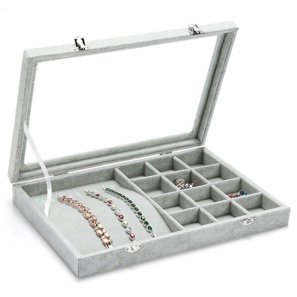 JU FU scatola di gioielli Contenitore di gioielli - Cartella di flanella   vetro, vano ragionevole, grande capacità, semplice scatola di immagazzinaggio di rifinitura di gioielli multi-funzione visiva