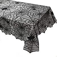 Hoocozi 1 Pack Halloween Tablecloth, Rectangular Polyester Lace Tablecloth Black Spider Web Tablecover for Scary Movie Nights Halloween Table Decorations, 54 x 72 Inch