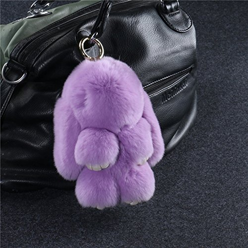 Crazy Cart(TM) Rex rabbit Fur Rabbit Fur Pendant Plush doll for Bag Ornaments Accessories Key Ring or Car Keychain Gift(Light Purple)