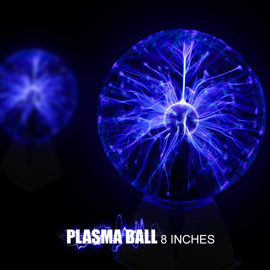 Tradeopia Corp. Glass Plasma Ball Touch Sensitive Decoration Lightning - 8'' Blue