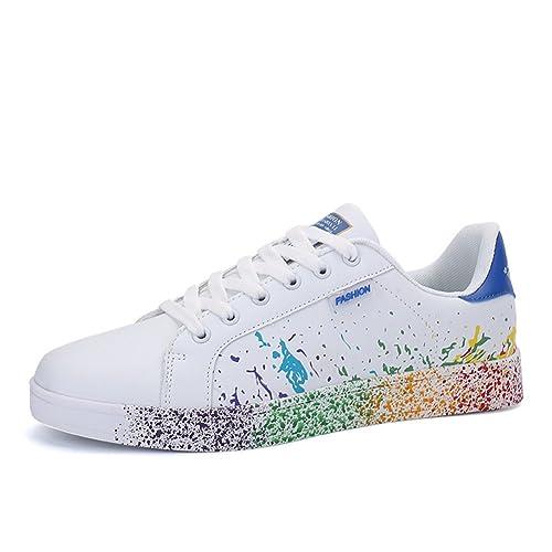 JEDVOO Uomo Donna Sneakers Scarpe da Ginnastica Basse Running Tennis Scarpe Foundation(XCX800Blue36)