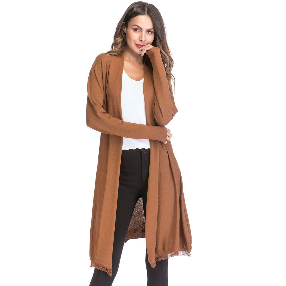 HHei_K Womens Casual Loose Hollow Patchwork Solid Knit Tassel Long Sleeve Cardigan Coat Outwear