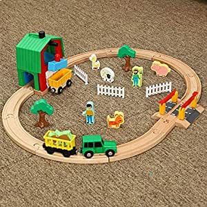 دايكاستس آند توي - لعبة قطار سكك حديدية خشبية، مسارات رجال إسعاف قتال الحرائق، تناسب فتحة خشبية، سيارات وقوف السيارات ومرآب القطار لعبة مضمار للأطفال (D)