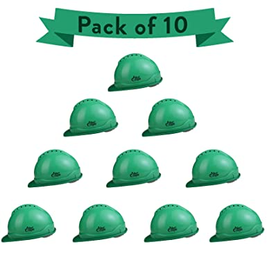 Allen Cooper Industrial Safety Helmet SH-702, Shell With Ventilation, Plastic Cradle with Manually adjustable Headband - GREEN (Pack Of 10)