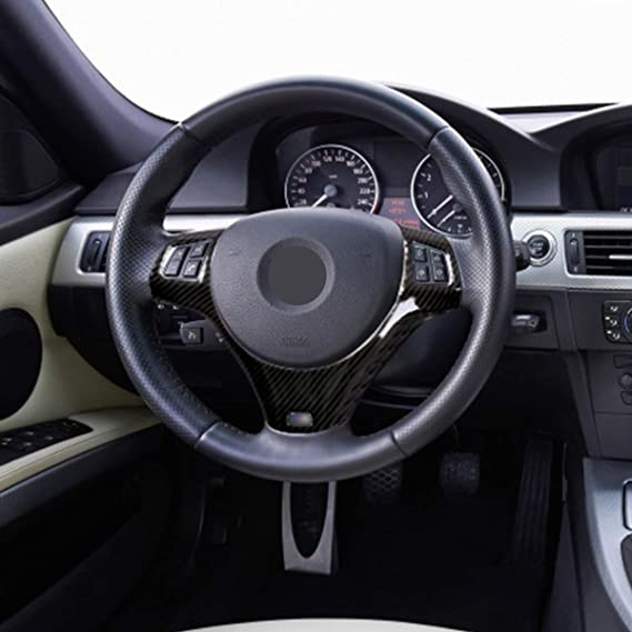 Yiwang Carbon Fiber Abs Chrome Effect Steering Wheel Cover For 1 Series 5 Door M Sport Coupe E82 E87 E90 E93 2005 2014 Car Accessories Auto