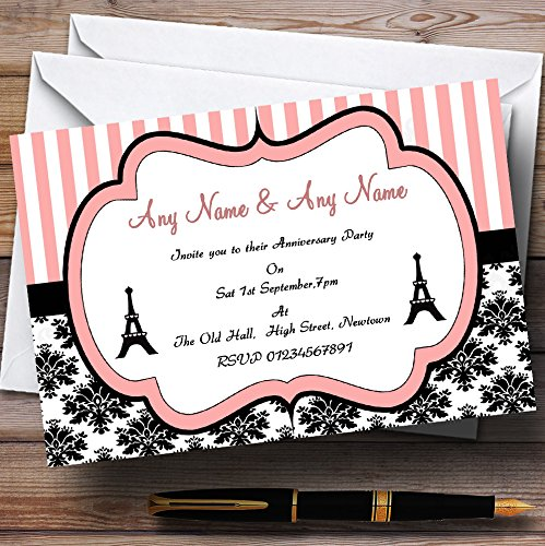 - Parisian Paris Eiffel Tower Wedding Anniversary Party Personalized Invitations