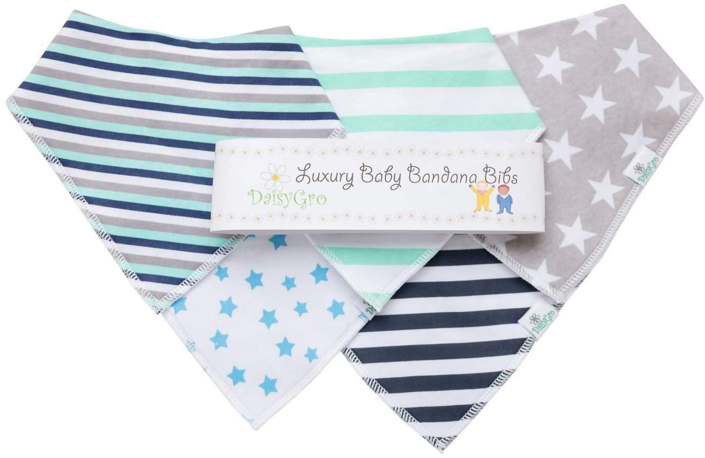 •Sale!• DaisyGro® Premium Baby Bandana Bibs | 4 Selections | Stylish Modern Designs | Adjustable | Lifetime Guarantee | Gift Packaged | Perfect Baby Shower Gift