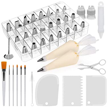 Kootek 47 Pieces Cake Decorating Kits Supplies with Numbered Icing Tips, Cake Paint Brushes, Silicone Pastry Bags, Couplers, Icing Smoother, Decoration Pen White Baking Supply Fondant Sets