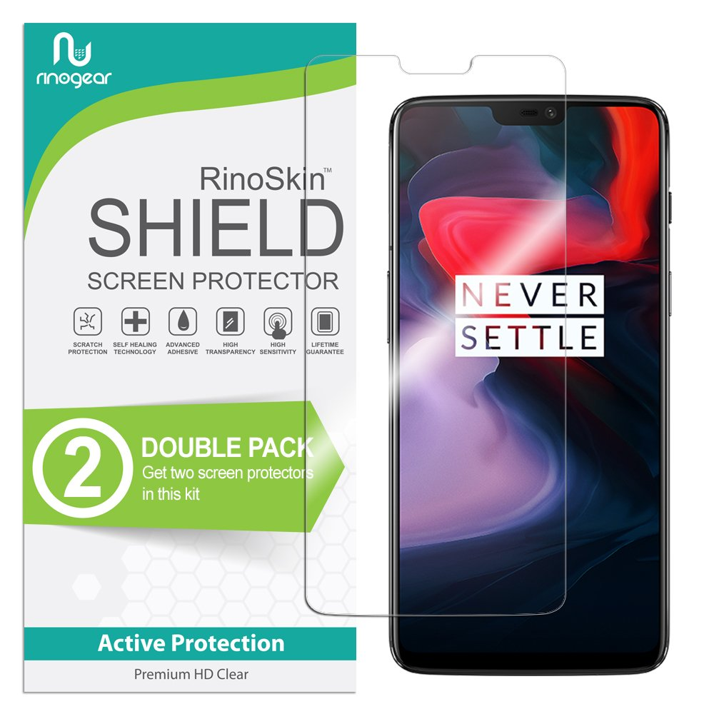 (2-Pack) OnePlus 6 Screen Protector RinoGear Case Friendly Screen Protector for OnePlus 6 Accessory Full Coverage Clear Film