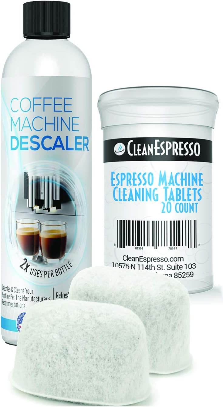 20 Espresso Machine Cleaning Tablets 2 Water Filters Breville Espresso Cleaning Kit by CleanEspresso Fits All Breville Espresso Maker Models 2-Use Descaling Solution