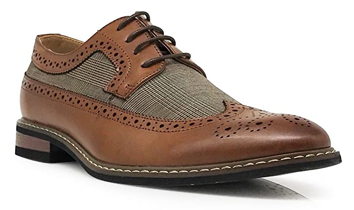 Mens Vintage Style Shoes| Retro Classic Shoes Titan01 Mens Spectator Tweed Plaid Two Tone Wingtips Oxfords Perforated Lace Up Dress Shoes $31.99 AT vintagedancer.com