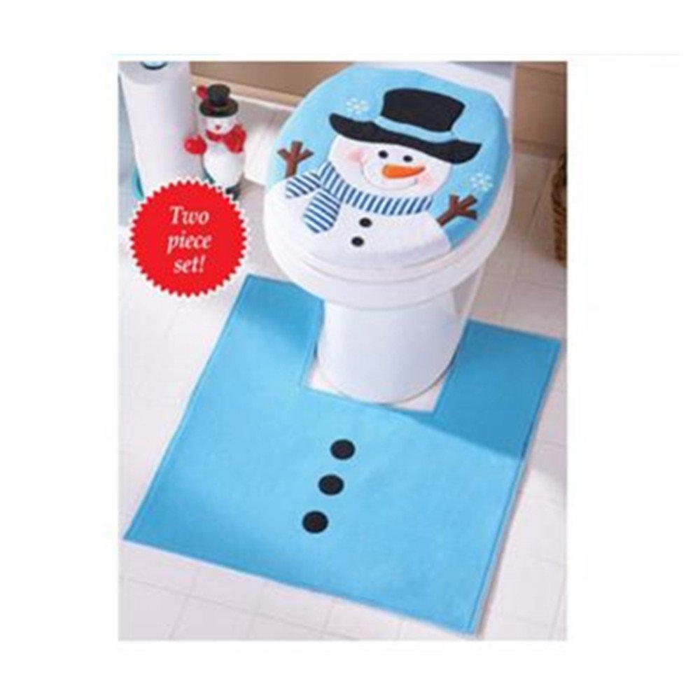 Malloom® 2pc/set Natale Fodere DI Copri e Tappeto bagno WC Bagno Decorazione