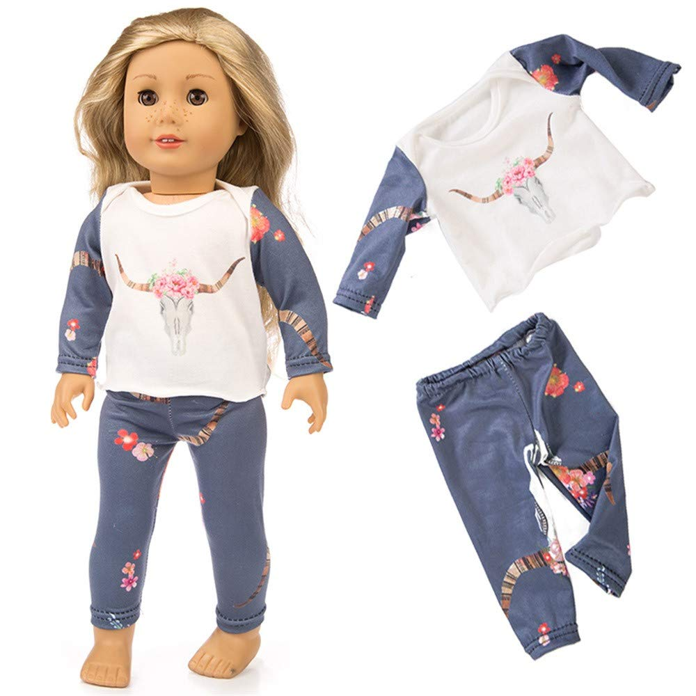 Puppe Pyjama 18 Zoll (ohne Puppen), Malloom Cute Sleepwear Pyjamas Nightgown fü r 18 Zoll Unsere Generation for American Girl Doll Malloom-Bekleidung