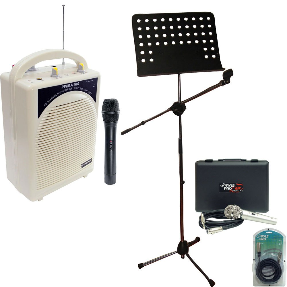 Pyle Speaker, Mic, Cable and Stand Package - PWMA100 Rechargeable Portable PA System with Wireless MIC - PDMIK4 Dynamic Microphone with Carry Case - PMSM9 Heavy Duty Tripod Microphone And Music Note Stand - PPFMXLR15 15ft. XLR Male to XLR Female Microphon