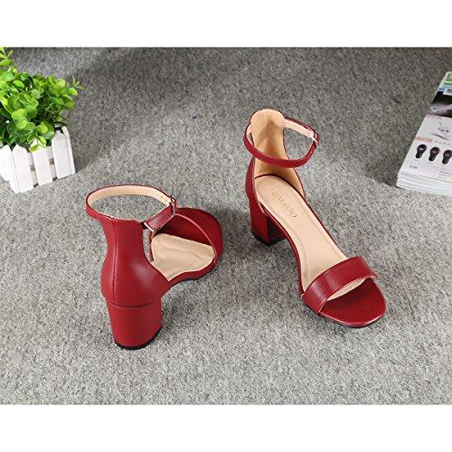 Zapatilla Borgoña Vestir Tobillo Tacón Abierta Alto Correa Zapatos Mujer Verano Punta Con Qimaoo De Sandalias nxTw8pqT60