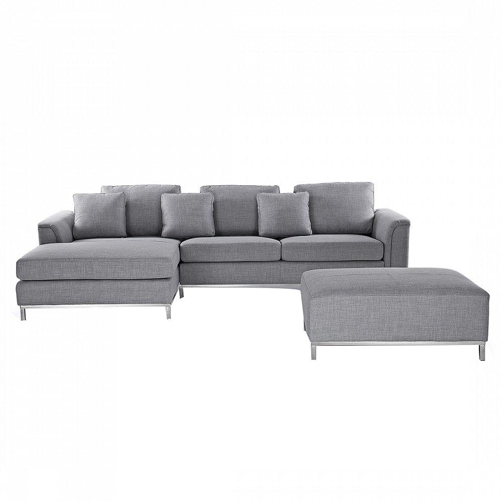 Sofa Hellgrau – Couch – Ecksofa R – Sofalandschaft – Sofagarnitur – Stoffsofa – OSLO