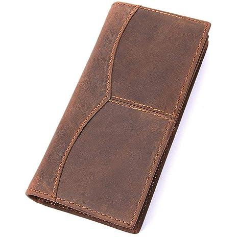 Circlefly Mens moda cuero MIDI monedero cartera billetera de cuero de caballo loco