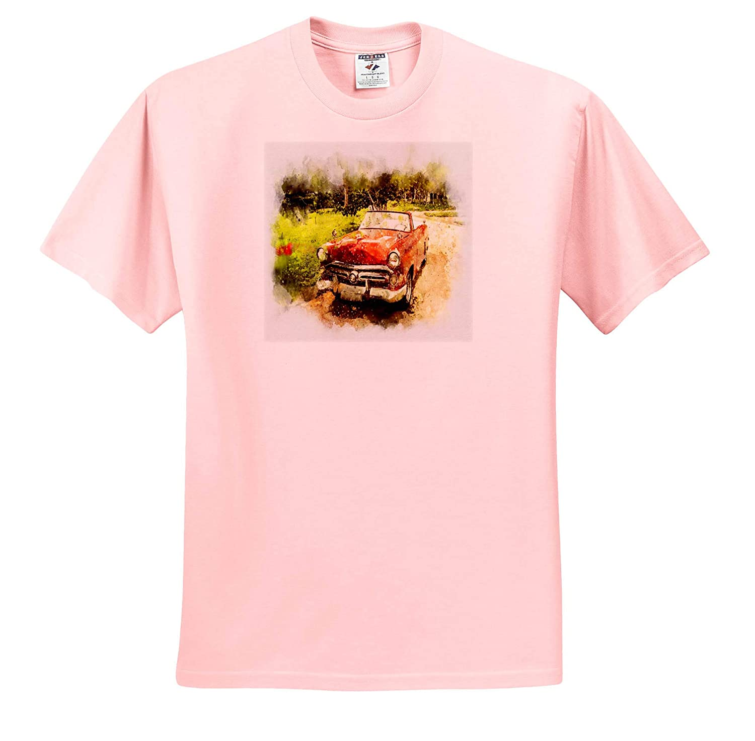 Watercolor Art Image of Painting of Retro Red Convertible in Countryside 3dRose Lens Art by Florene T-Shirts