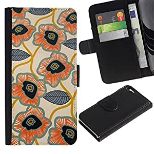 All Phone Most Case / Oferta Especial Cáscara Funda de cuero Monedero Cubierta de proteccion Caso / Wallet Case for Apple Iphone 5 / 5S // Leaves Pattern Hand Drawn Art Flower