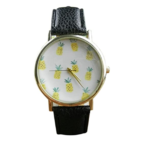 Amazon.com: Lookatool Pineapple Pattern Leather Band Analog Quartz Vogue Wrist Watch: Lookatool: Watches