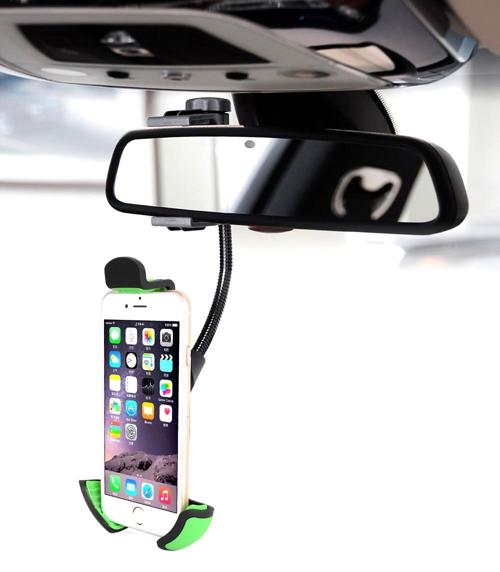 Rear view mirror phone holder mount for hanging cell phone for Phone mirror