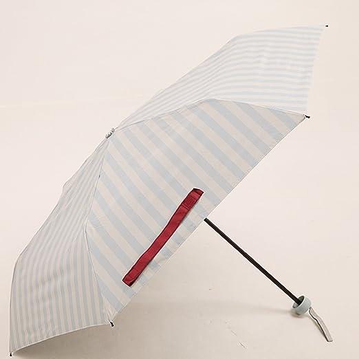 LYYUMBRELLAS Summer Naval Wind Stripe Parasoles sombrilla Negro Protector Solar Cuatro Doblar Ultra-luz Parasol portátil Soleado (Color : #1): Amazon.es: Jardín