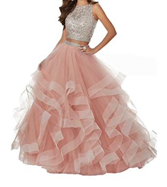 Two Piece Prom Dresses Layered Tulle Beaded Sexy Long Homecoming Dress Asymmetric Formal Prom Ball Gowns