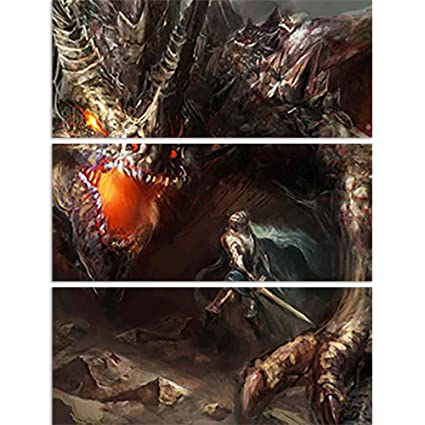 Artzfolio Knight Fighting Dragon D3 Split Art Painting Panel