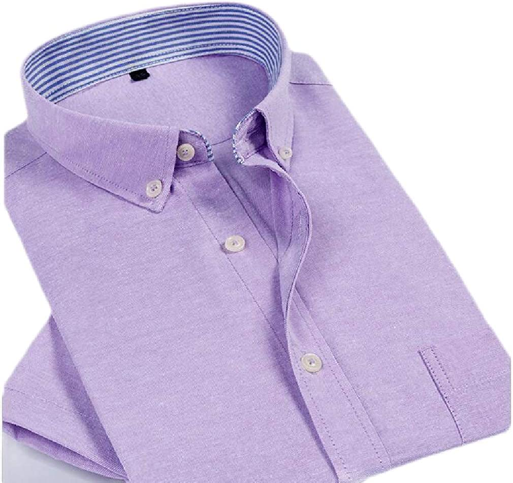 Smallwin Mens Summer Short Sleeve Button Down Oxford Plaid Stripe Shirts