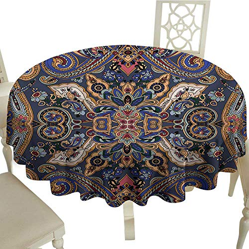 Zodel Dustproof Square Tablecloth Paisley Historical Moroccan Florets with Slavic Effects Heritage Design and Durable D50 Suitable for picnics,queuing,Family