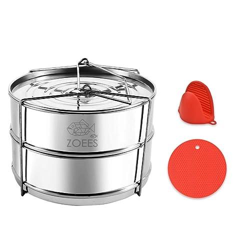 Amazon.com: zoees apilable olla de presión vaporera sartenes ...