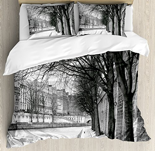 (Ambesonne Black and White Decorations Duvet Cover Set King Size, Seine River Paris France Snowy Winter in Urban City Trees, Decorative 3 Piece Bedding Set with 2 Pillow Shams, White Black)
