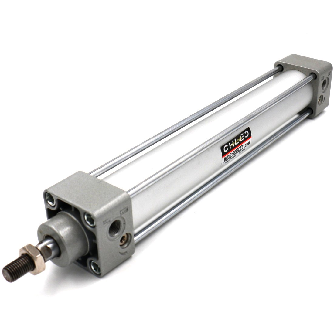 Baomain Pneumatic Air Cylinder SC 32 x 250 PT 1/8, Bore: 1 1/4 inch, Stroke: 10 inch, Screwed Piston Rod Dual Action 1 Mpa