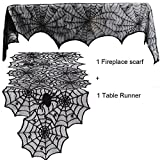 Guwheat Halloween Decoration Spiderweb,1pc Fireplace Mantle Scarf Cover + 1pc Lace Table Runner Festive Party Supplies for Halloween/Christmas/Spooky Meals