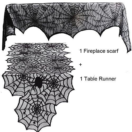 Guwheat Halloween Decoration Spiderweb,1pc Fireplace Mantle Scarf Cover + 1pc Lace Table Runner Festive Party Supplies for Halloween/Christmas/Spooky Meals by Guwheat