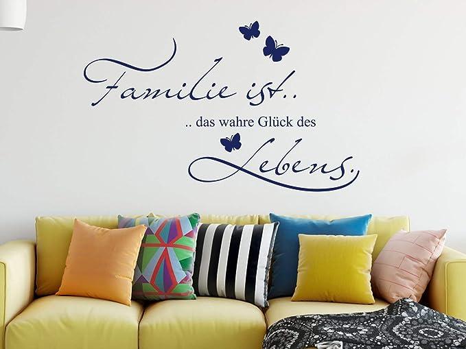 Grazdesign Wandtattoo Familie Ist Das Wahre Glück Als Wand Dekoration Wand Aufkleber Für Wohnzimmer Wand Sprüche 65x40cm 010 Weiss Küche Haushalt