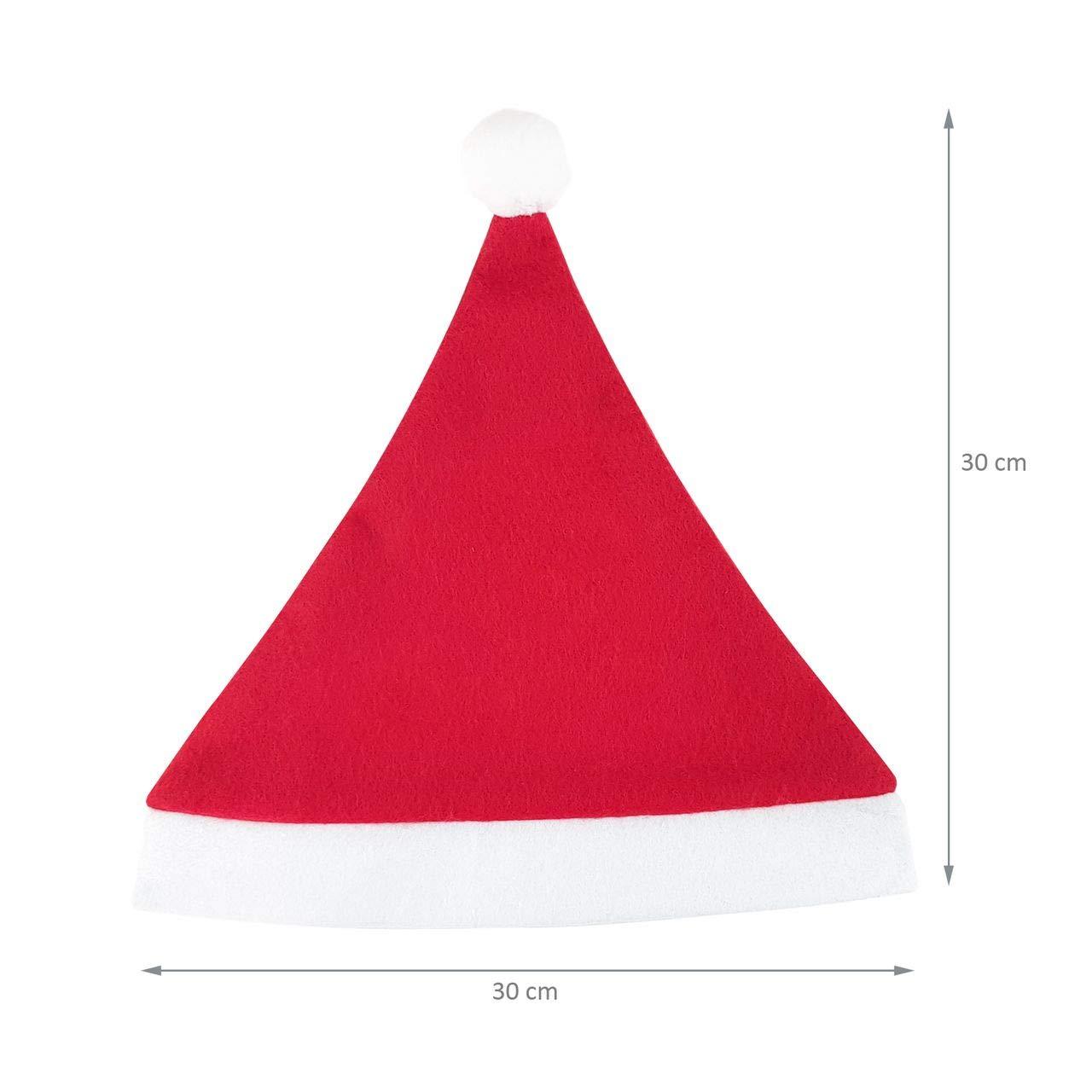 BxH weicher Filz Einheitsgr/ö/ße Wellgro 24 Weihnachtsm/ützen mit Bommel 30 x 30 cm