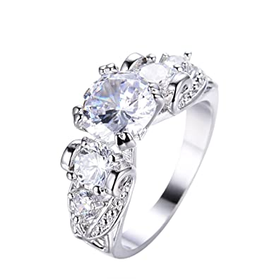 Amazon Com Adeser Jewelry Womens Lab Colourful Cz Ring And Five