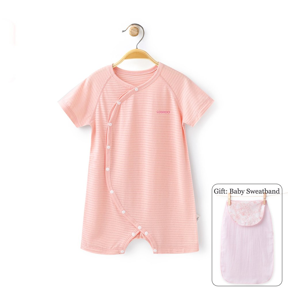 COBROO 100% Baby Girl Romper with Short Sleeves Solid Color Breathable Thin Summer Onesie Pink for 6-9 Months